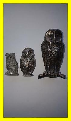 Three Little Owl Statues/figures, One Is Silver Plate