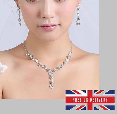 Rhinestone Jewellery Wedding Bridal Prom Engagement Party Necklace + Earings Set