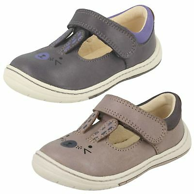 Infant Toddler Girls Clarks Leather T-Bar First Walking Shoes - Amelio Glo