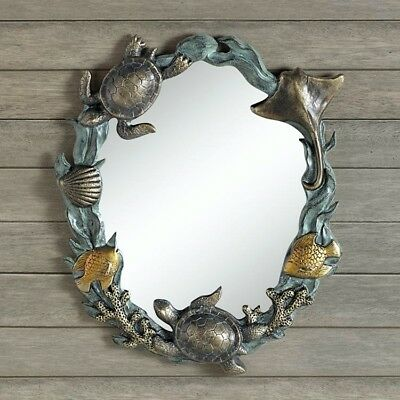 Sea Turtles Sealife Wall Mirror Stingray Fish Shell Coastal Nautical Beach 19""