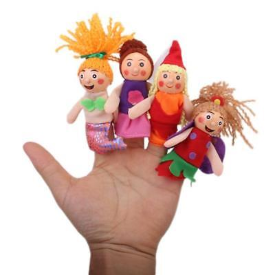 4 WOODEN HEAD FINGER PUPPETS MERMAID Stage Theatre Preschool Pretend Play
