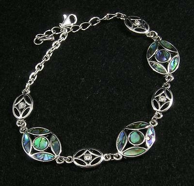 "PAUA ABALONE Shell Inlaid Oval Clear Crystal Silver Plated Anklet 9""-11"""