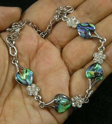"PAUA ABALONE Shell Inlaid Heart Clear Crystal Bracelet or Anklet 7 1/2""-11"""