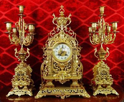 Antique XL 19thc French Japy Freres pierced gt brass mantle clock garniture set