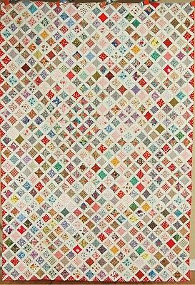 GORGEOUS Vintage Cathedral Windows Antique Quilt ~BEAUTIFUL FABRICS & RED BORDER