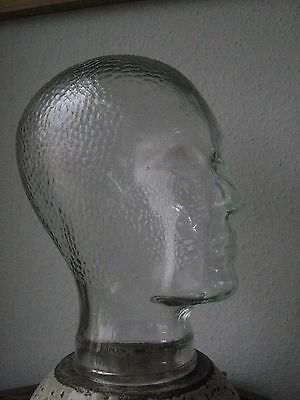 Vintage clear glass Mannequin head 70s