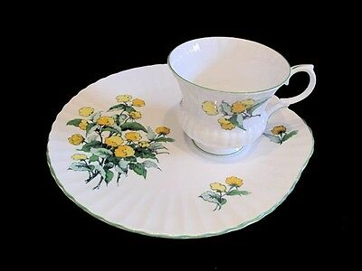 Crown Staffordshire CORNWALL Snack Luncheon Set Plate Cup Yellow