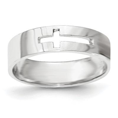 14k White Gold Polished Cut-out Cross Men's Ring K5739 Size 7