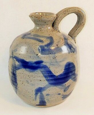 SLIPWARE Style New OIL LAMP w Wick GRAY & BLUE Antique Look USA made_of_clay