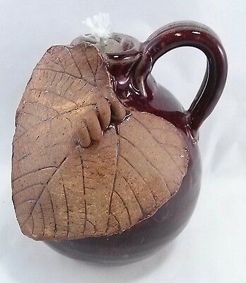 Rustic Artisan OIL LAMP BURGUNDY + BROWN Grape Leaf NEW w Wick USA made_of_clay