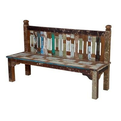 "69"" L Zoey Bench Reclaimed Wood hand made distressed white blue brown solid wood"