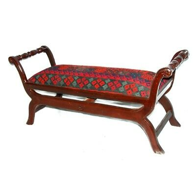 "59"" L Adrian Kilim Bench hand made solid wood frame red green blue brown nice"