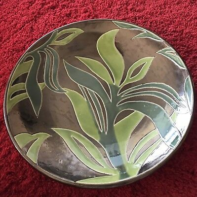 Very Beautiful Very Large and Heavy Ceramic Charger Tropical Motif
