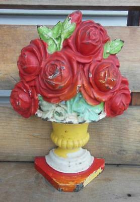 Antique Hubley 445 Cast Iron Bouquet Of Roses Doorstop Bookend Home Decor Floral