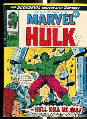 Mighty World Of Marvel #133 1975-Hulk-Fantastic Four-Daredevil-Kirby-Uk Comic Fn
