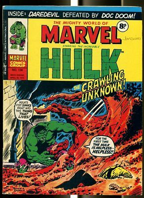 Mighty World Of Marvel #134 1975-Hulk-Fantastic Four-Daredevil-Kirby-Uk Comic Fn