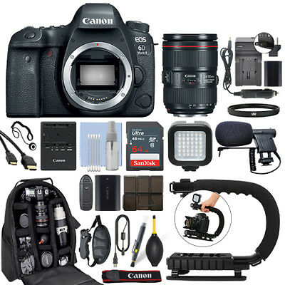 Canon EOS 6D Mark II DSLR Camera & 24-105mm f/4L II USM Lens+ 64GB Pro Video Kit