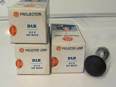 Three  GE DLR Photo Projection LIGHT BULB  LAMPS NOS New Old Stock
