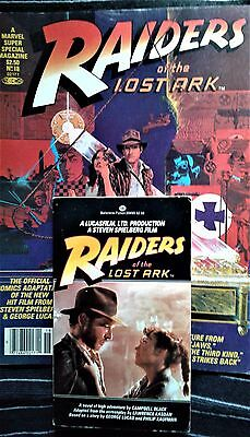 RAIDERS of the LOST ARK 1981 1st ED PB BOOK & MARVEL SUPER ACTION 18 COMIC MAG
