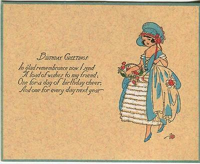 Vintage Art Nouveau Deco Hand Colored Painting Victorian Girl Rose Birthday Card