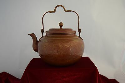 c1900 Japanese Copper Teapot Kettle Hand Decorated - Peacocks