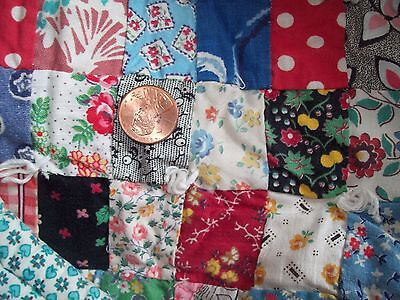 Small Vintage Antique 1930s  FEED SACK POSTAGE STAMP Quilt 75 x 54