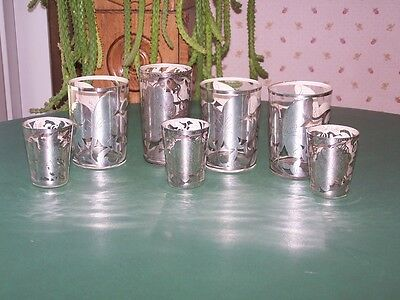 Set of 7 Antique Sterling Silver Overlay Glasses/Tumblers/Juice/Grapes/Flowers