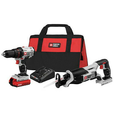 Porter-Cable 20V MAX Li-Ion Drill Driver and Recip Saw Combo Kit PCCK603L2 New