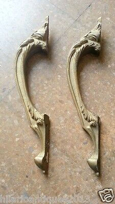 Antique French Louis Xv Chiselled Gilded Solid Bronze Handles Pulls Door 40 Cm