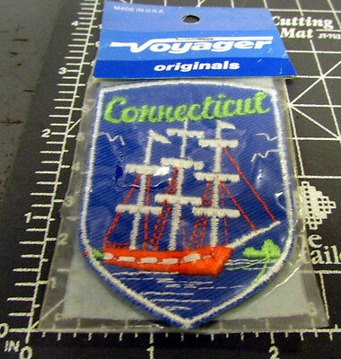 Connecticut old wood sailing ship, Embroidered Patch, great collectible