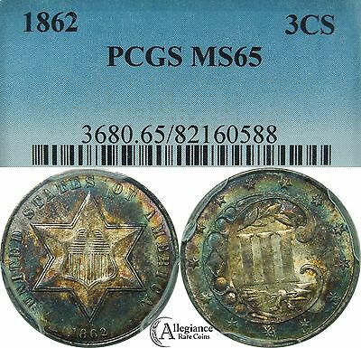 1862 Three Cent Silver Piece PCGS MS65 rainbow toned rare old type coin 3 cents
