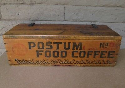 "Rare Postum Advertising Wood Crate Box  22"": Food Coffee Cereal, Michigan Wooden"