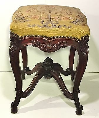 Exceptionally Fine Antique FRENCH CARVED STOOL Needlepoint Seat