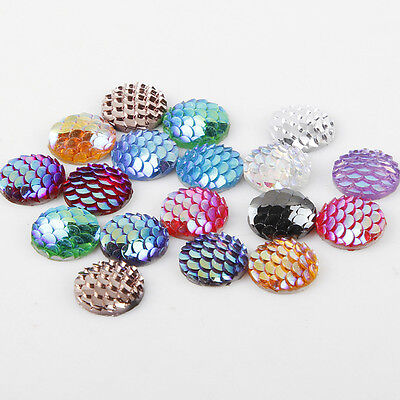 20/50/100PCS Flatback Resin Mermaid Fish Scale Beads Cabochon Craft Pieces 12mm