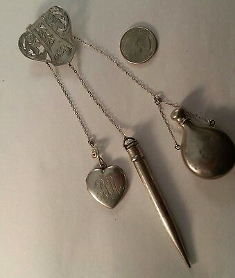 Victorian Sterling Silver 925 Chatelaine With 3 Dangles For Ladies Night Out