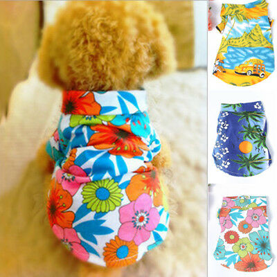 Summer Shirt Short Sleeve Pet Clothes Dog Puppy Top Floral Shirt Hawaiian Tops