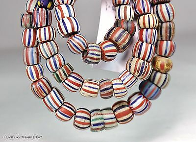Antique Native American 5 Layers Chevron Old Trade Beads Indian Artifact NY 1700
