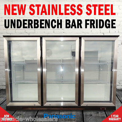 NEW Free Standing 330 Litre Under Bench 3 Door Fridge With Stainless Steel Doors