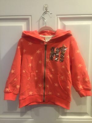 Zara Girls Casual Collection Color: Coral - Star Print Hooded Sweat Suit Size 4