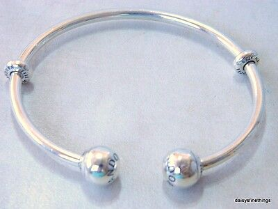 Nwt! Authentic Pandora Silver Open Bangle Bracelet #596477-3 19Cm/7.5In