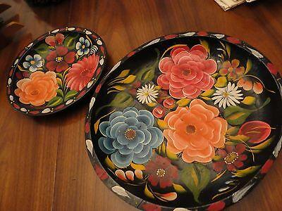 2 Plates  Hand Painted Hand Carved Wood Plate Flowers 9 inches and 13inches