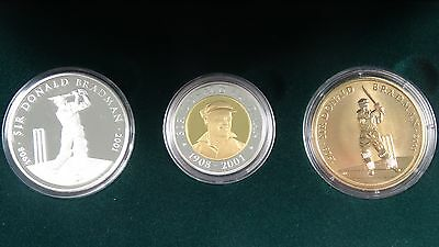 2001 Gold, Silver, Aluminium/Bronze Sir Donald Bradman Three Coin Set