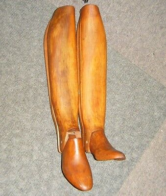 Pair Antique Meitzler Large Wooden Equestrian Riding Boots Stretchers 3-Pc Tree