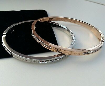 Michael Kors Bangle Crystal Slim Bangle Bracelet Rose Gold / Silver w/ a Pouch
