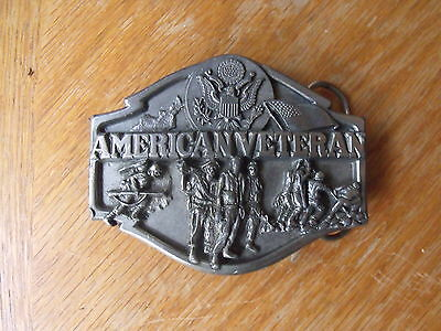 AMERICAN VETERAN Belt Buckle Pewter 1988 By Siskiyou T-80 Made in USA