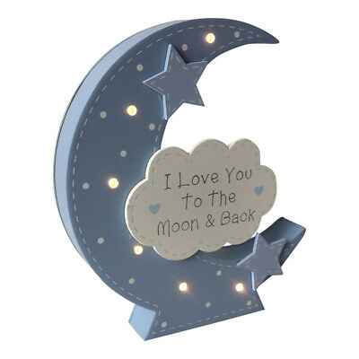 Baby LED Light Up Love You to the Moon & Back Sign -  Night Blue Pink Boy Girl