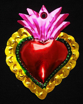 Colourful Mexican Tin Heart Milagro- Folk Art Oaxaca corazon token Miracle charm