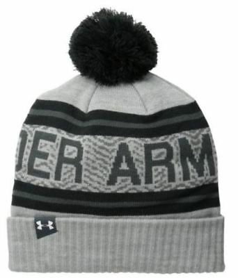 Under Armour Men's Retro Pom Refresh Beanie True Heather Grey