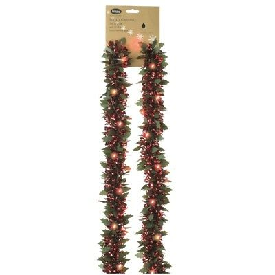 200 cm Red Holly Pre Lit Tinsel Garland with Lights – Christmas Tree Decoration