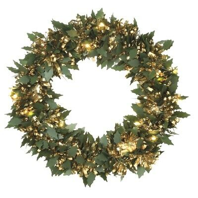 30cm Gold Holly Pine Pre Lit Tinsel Christmas Wreath with Lights  LED Decoration